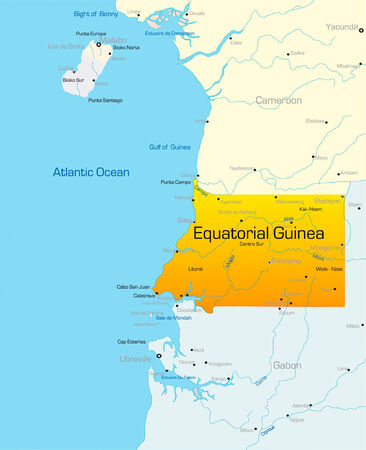 Abstract vector color map of Equatorial Guinea country