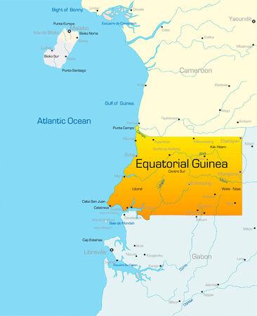Resumen de vectores de color mapa de Guinea Ecuatorial país
