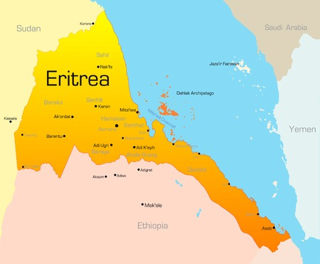 Abstract vector color map of Eritrea country Vector
