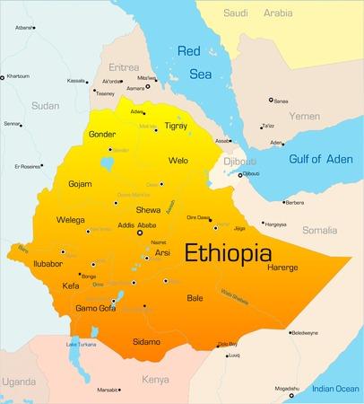 Abstract vector kleur kaart van Ethiopië land Vector Illustratie