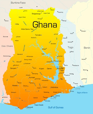 географический: Abstract vector color map of Ghana country