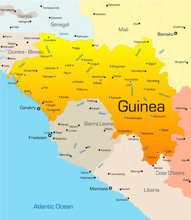 Abstract vector color map of Guinea country Vector