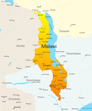 Abstract vector color map of Malawi country Vector