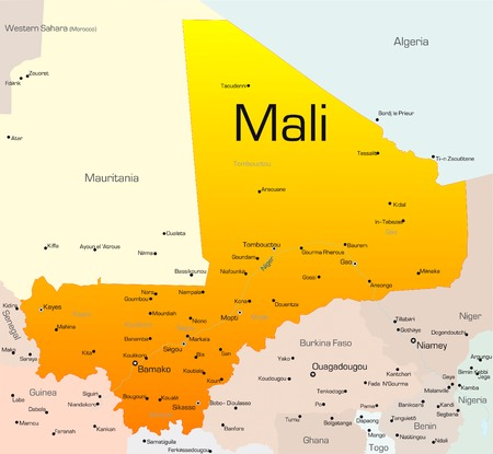 mali: Abstract vector color map of Mali country Illustration