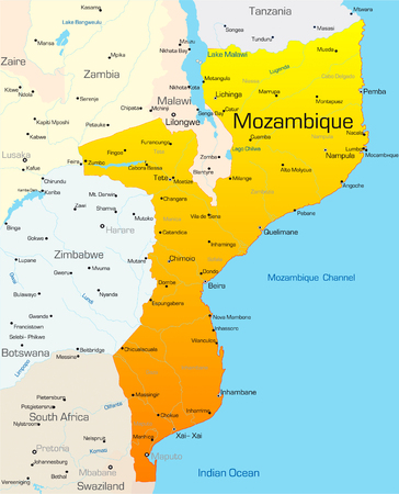 zaire: Abstract vector color map of Mozambique country