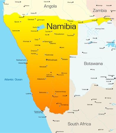 Abstract vector kleur kaart van Namibië land