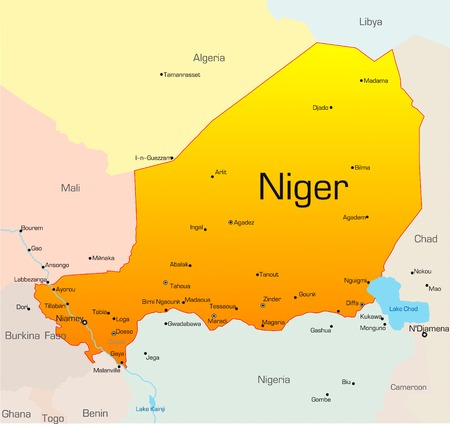 niger: Abstract vector color map of Niger country