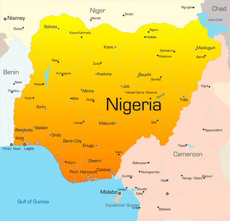 nigeria: Abstract vector color map of Nigeria pays