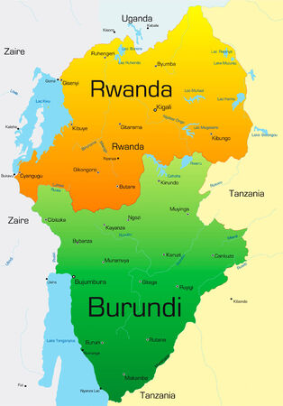 burundi: Abstract vector color map of Rwanda and Burundi country