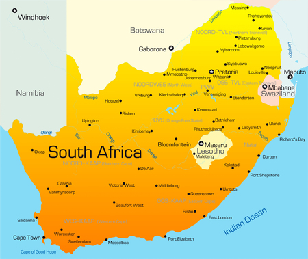completed: Abstract vector color map of South Africa country