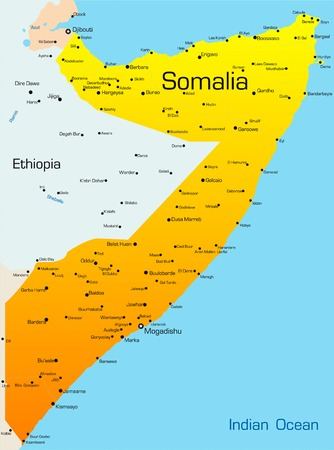 somalia: Abstract vector color map of Somalia Illustration