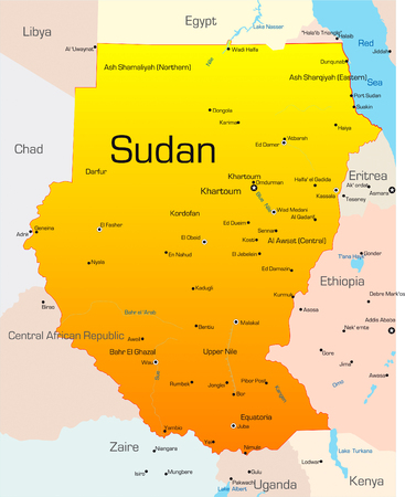sudan: Abstract vector color map of Sudan country