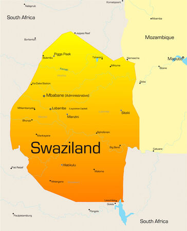 Abstract vector color map of Swaziland country Vector