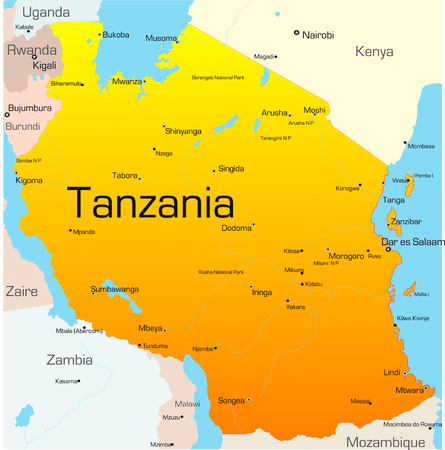 Abstract vector color map of Tanzania country Vector