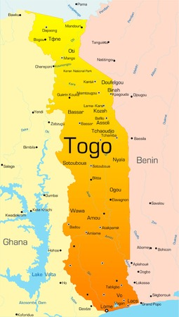 togo: Abstract vector color map of Togo country