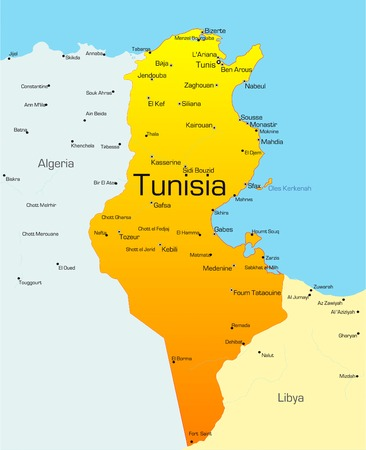 Abstract vector color map of Tunisia country Vector