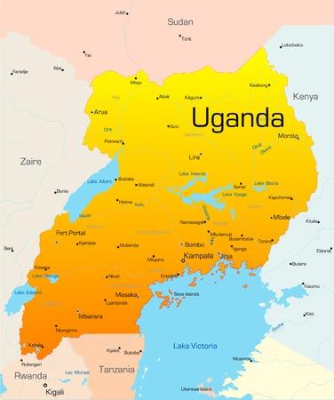 Abstract vector kleur kaart van Uganda land