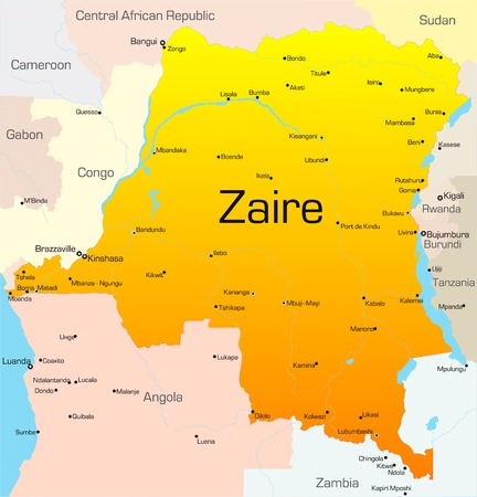 zaire: Abstract vector color map of Zaire country
