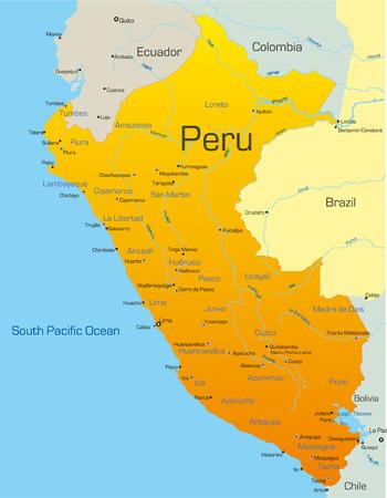mapa de venezuela: Resumen de vectores de color mapa del Per�, pa�s