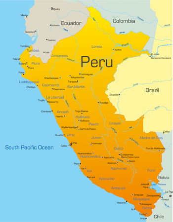mapa del peru: Resumen de vectores de color mapa del Per�, pa�s