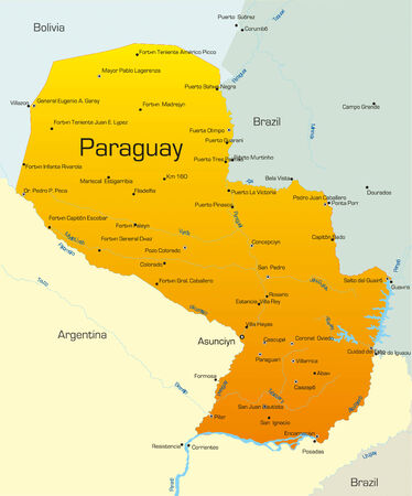 Abstract vector color map of Paraguay country Vector