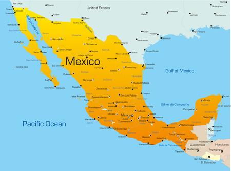 mexiko karte: Abstract Vector Farbe Karte von Mexiko Land Illustration