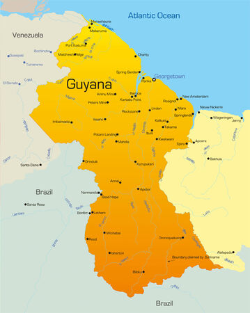 guyana: Abstract vector color map of Guyana country