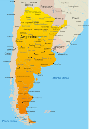 map of bolivia: Abstract vettore colore mappa del paese Argentina  Vettoriali