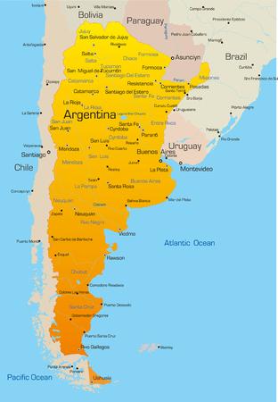 mapa de venezuela: Resumen de vectores de color mapa de la Argentina pa�s