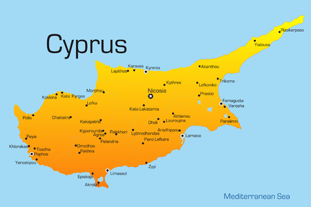 Abstract vector color map of Cyprus country Illustration