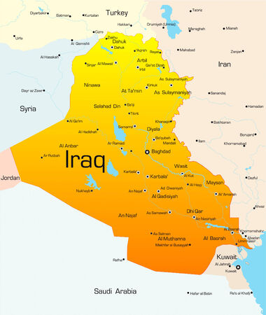 south east asia: Abstract vettore colore mappa del paese Iraq