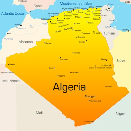 alger: Abstract vector color map of Algeria country
