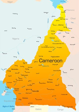 cameroon: Abstract vector color map of Cameroon country Stock Photo