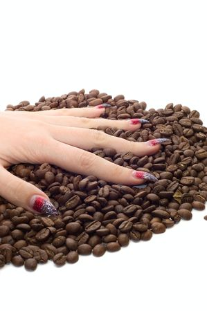 Female hand and coffee beans on white Stock Photo - 3542828