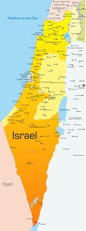 tel: Abstract vector color map of Israel country