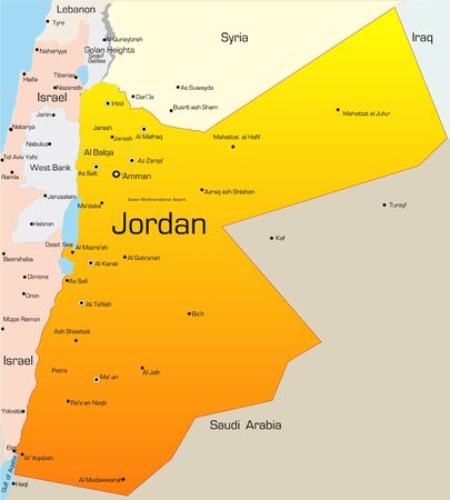 Abstract vector color map of Jordan country photo