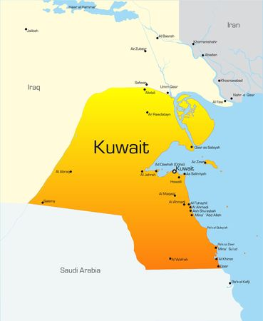 Abstract vector color map of Kuwait country photo