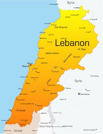 southwest: Abstract vector color map of Lebanon country