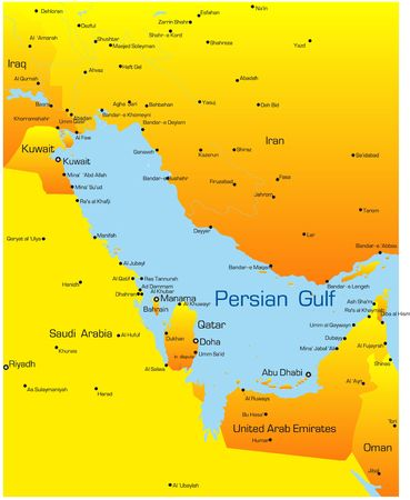 Abstract vector color map of Persian gulf countries photo