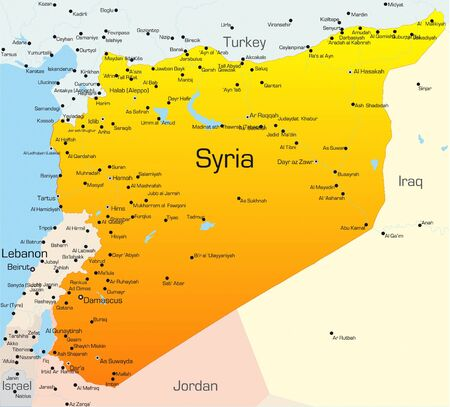 southwest: Abstract vector color map of Syria country