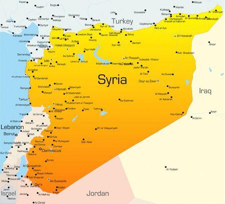 syria: Abstrakt Farbe Vektorkarte von Syrien-Land