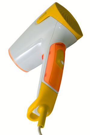Stylish yellow and orange hairdryer on white photo