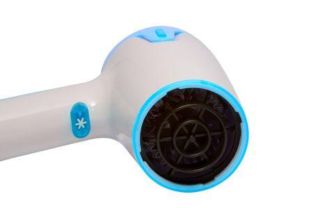 Stylish blue  hairdryer on white photo