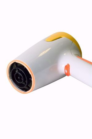 electric dryer: Stylish yellow and orange hairdryer on white