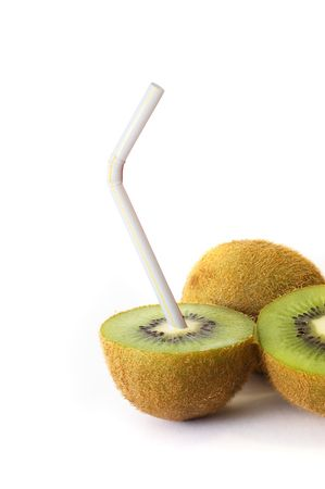 Kiwi with pipe on white Stock Photo - 3577996