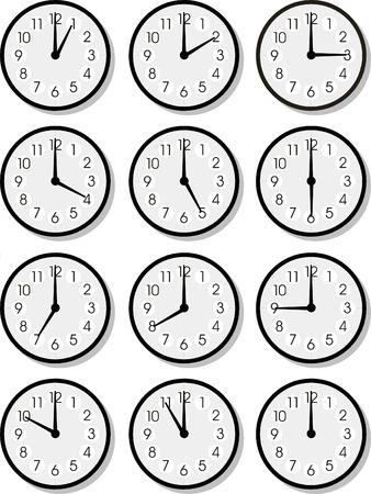 office clock: Conjunto de vectores de relojes