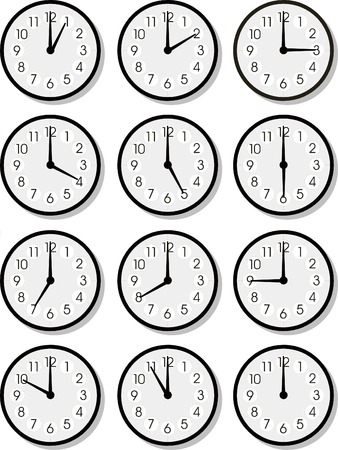 time of the day: Set of vector clock faces