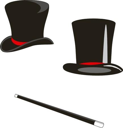 fur cap: Vector illustration: magic hats and cane