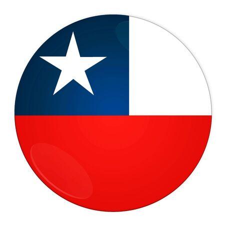 bandera de chile: Resumen ilustraci�n: bot�n con bandera de Chile pa�s Foto de archivo