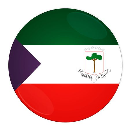 Abstract illustration: button with flag from Equatorial Guinea country illustration